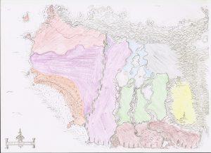 Carte en couleur des différentes régions de l'univers de Mélianor